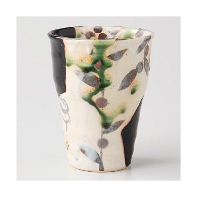 和食器  厳選銘窯 玉山窯 黒織部フリーカップ 手描き 美濃焼 8.5cm 300cc