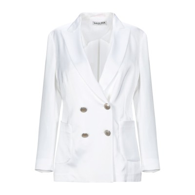 SAULINA Milano テーラードジャケット ホワイト 38 レーヨン 100% テーラードジャケット