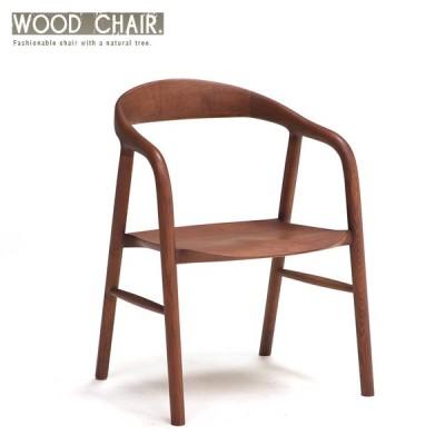 ダイニングチェアー 無垢 木製 曲げ木 ブラウン 天然木 肘付き 板座 デザイナーズチェア風 おしゃれ