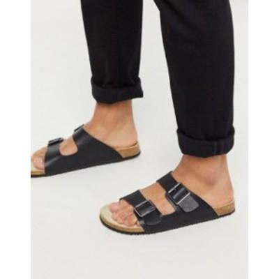 エイソス メンズ サンダル シューズ ASOS DESIGN sandals in black with buckle Black