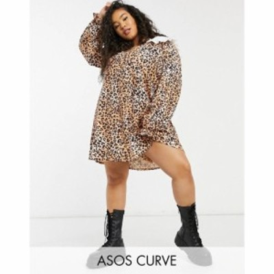 エイソス ASOS Curve レディース ワンピース ミニ丈 Curve Mini Dress With Contrast White Oversized Collar In Leopard Print レオパー