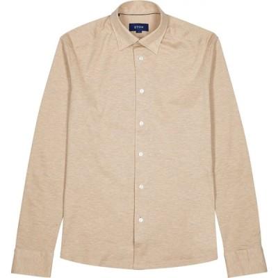 イートン Eton メンズ シャツ トップス Light Brown Pique Cotton Shirt Brown