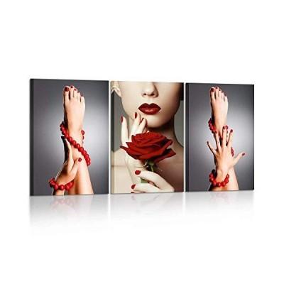 Kreative Arts 3ピース キャンバスプリント ビューティファッション 女性 ポートレート 赤いバラの花 赤い
