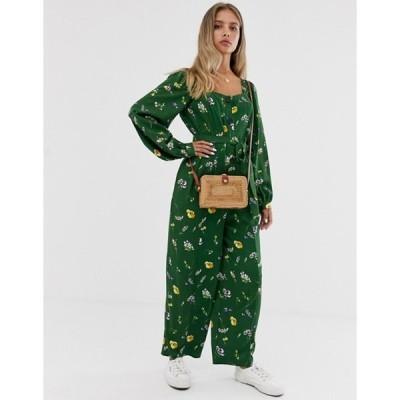 エイソス レディース ワンピース トップス ASOS DESIGN button front tie waist puff sleeve jumpsuit with long sleeves in green floral print