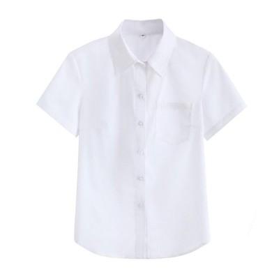 シャツ和風女子大生夏先のとがった襟半袖半袖制服学生学校制服クラス制服トップコート大きいサイズ