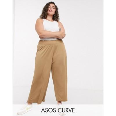 エイソス レディース カジュアルパンツ ボトムス ASOS DESIGN Curve culotte pants with shirred waist in sand