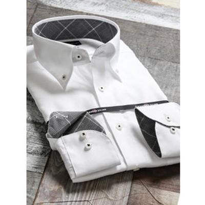 メンソールコットン スリムフィットボタンダウン長袖ビジネスドレスシャツ/ワイシャツ