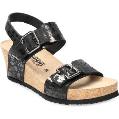 メフィスト MEPHISTO レディース サンダル・ミュール ウェッジソール シューズ・靴 Lissandra Platform Wedge Sandal Black Paint Leather