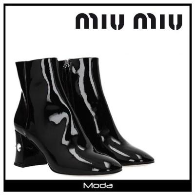 ミュウミュウ ショートブーツ レディース 黒 ブラック MIUMIU 靴 MIU MIU