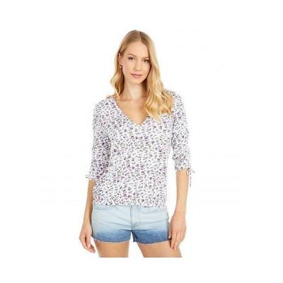 Lucky Brand ラッキーブランド レディース 女性用 ファッション ブラウス Printed Ruched Sleeve Top - White Multi