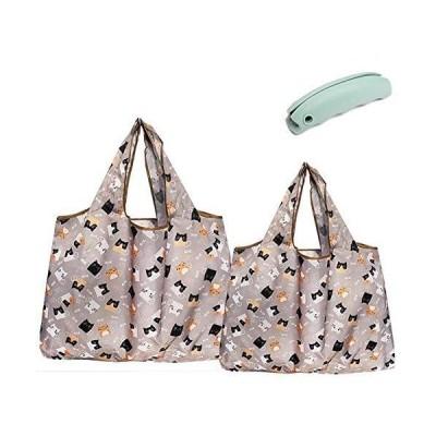 H.sheng 買い物カゴ用エコバッグ bag ポケット付き 折りたたみ おしゃれ 可愛い ネコ柄 便利 大きい 軽量 収納 おおきめ KC