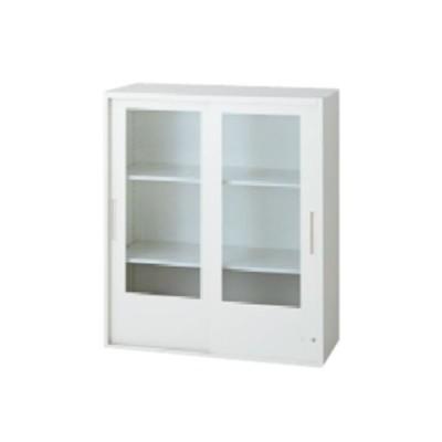 L6 2枚ガラス両開き保管庫 幅800×奥行400×高さ890mm 上置き 可動式棚板2枚 透明 (648-350) L6-G90G-C