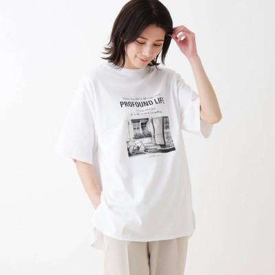 シューラルー SHOO-LA-RUE USAコットンアソートプリントラウンドヘムTシャツ (オフホワイト)