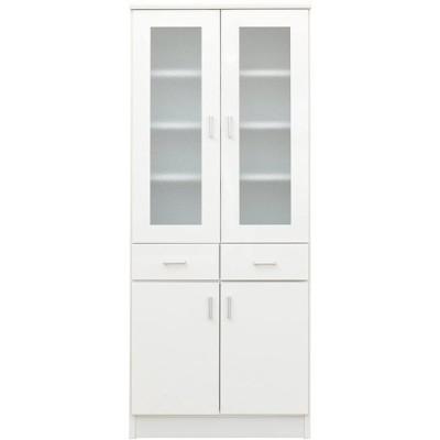 大川家具 nakakei 食器棚 カップボード スコール 60cm幅 ホワイト 213185