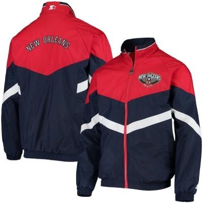 スターター ジャケット・ブルゾン アウター メンズ New Orleans Pelicans Starter Bank Shot Oxford Full-Zip Jacket Navy/Red