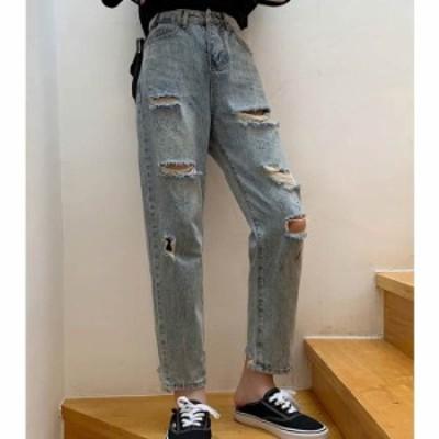 [月初SALE!] 予約商品 大きいサイズ レディース ダメージジーンズ デニムパンツ ジーパンボトムス ビッグサイズ 韓国ファッション  LL 3
