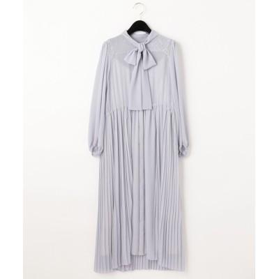 GRACE CONTINENTAL ボウタイプリーツドレス ブルー 36