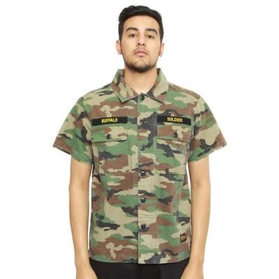 SSUR Plus(サープラス)シャツ 半袖 ミリタリー  Buffalo Field Shirt button-up Camo 迷彩 スケボー SKATE SK8 スケートボード PUNK パンク