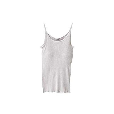 オーガニックコットン天衣無縫 リブカラー・カップ付きキャミソール グレー M〜L(フリー)