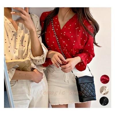 シフォンブラウスレディースハート韓国ファッションオルチャン