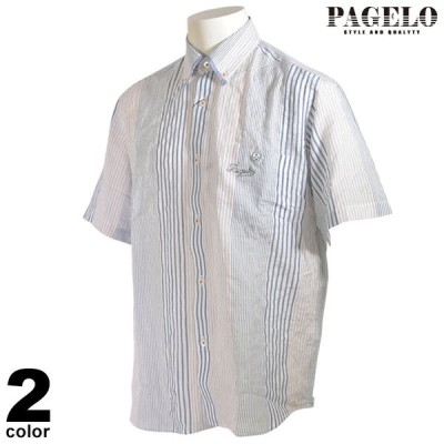 PAGELO パジェロ 半袖 カジュアルシャツ メンズ 2020春夏 ボタンダウン ストライプ ロゴ 04-2140-07