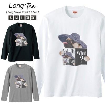 Tシャツ メンズ ロンT 長袖 ユニセックス クルーネック Uネック おしゃれ カップル ペア パグ Pug 犬 VAGUE ファッションPug