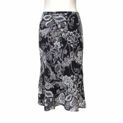 Reflect リフレクト テキスタイルドレープスカート (黒 ロング 日本製 Made in Japan ワールド) 114642【中古】