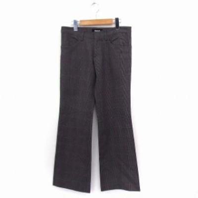 【中古】ズッカ zucca パンツ ロング ワイド グレンチェック ウール M グレー /ST9 レディース