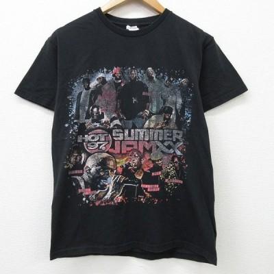 M/古着 半袖 ヒップホップ ラップ Tシャツ HOT97 SUMMERJPMXX ファボラス ジョーバドゥン コットン クルーネック 黒 ブラック 21apr05 中古 メンズ