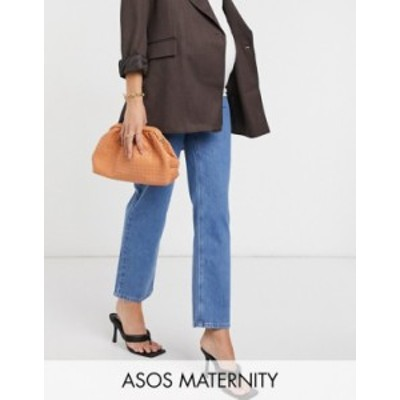 エイソス レディース デニムパンツ ボトムス ASOS DESIGN Maternity high-rise stretch 'slim' straight leg jeans in brightwash Bright