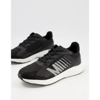 エイソス メンズ スニーカー シューズ ASOS DESIGN sporty sneakers in black Black