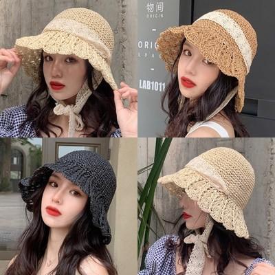 レース 麦藁帽子 女性の夏は小さい さわやかな 小さいへり 日よけ帽子 子のつば バケツ 帽子 漁夫帽 森系 韓版 潮