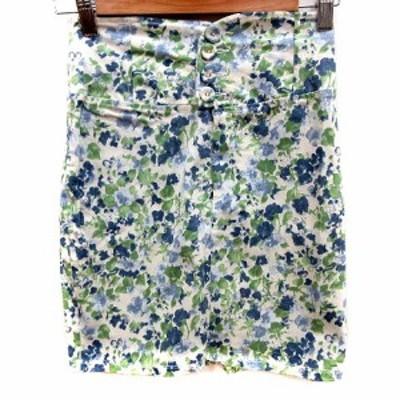 【中古】ミーア MIIA スカート タイト ミニ 総柄 F 白 ホワイト 緑 グリーン 青 ブルー /RT レディース