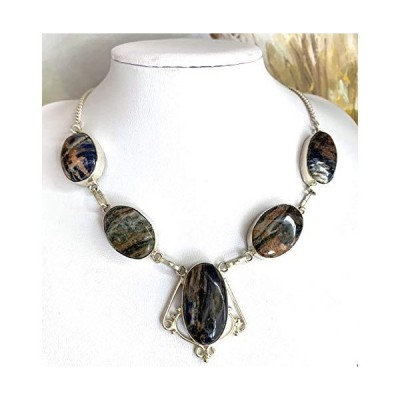 """Genuine SODALITE (Stone of Endurance) 5 Natural Gemstones, 925 Sterling Silver, (recycled), Handmade Necklace 19"""" long."""