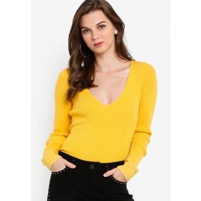 ゲス Guess レディース スウェット・トレーナー Vネック トップス Long-Sleeve V-Neck Cleo Sweater Yellow