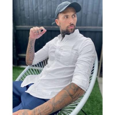 エイソス ASOS DESIGN メンズ シャツ トップス regular fit oxford shirt in white ホワイト