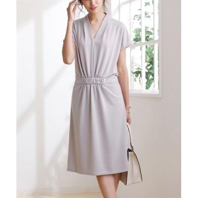 【布帛見えシリーズ】楽ちんポンチ素材♪ ウエストシャーリングVネックワンピース (ワンピース)Dress