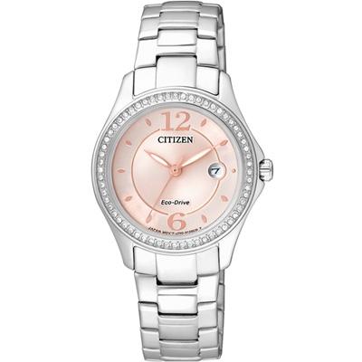 CITIZEN 星辰 綺麗世界光動能晶鑽腕錶(FE1140-51X)-粉/30mm
