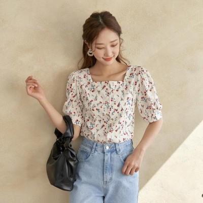 TWEE レディース ブラウス Sunflower square-neck blouse
