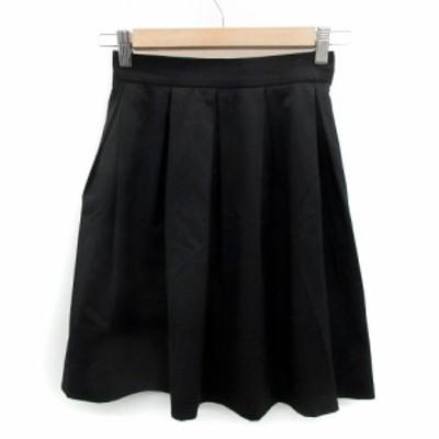 【中古】スウィングル Swingle スカート フレア ギャザー ミニ丈 無地 0 黒 ブラック /YS5 レディース