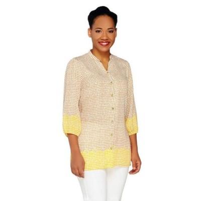 ユニセックス 衣類 トップス Liz Claiborne NY 3/4 Slv Border Print Tunic A262175 Tシャツ