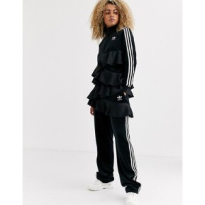 アディダス レディース カジュアルパンツ ボトムス adidas Originals x J KOO trefoil ruffle track pant in black Black