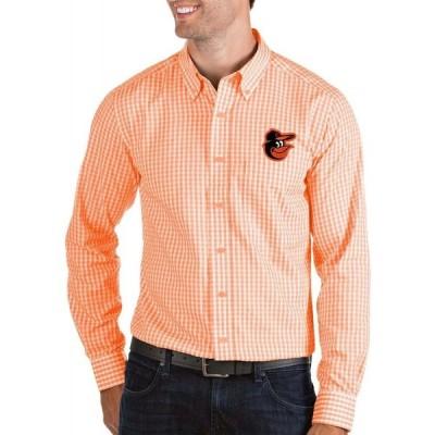 アンティグア Antigua メンズ シャツ トップス Baltimore Orioles Structure Orange Long Sleeve Button Down Shirt