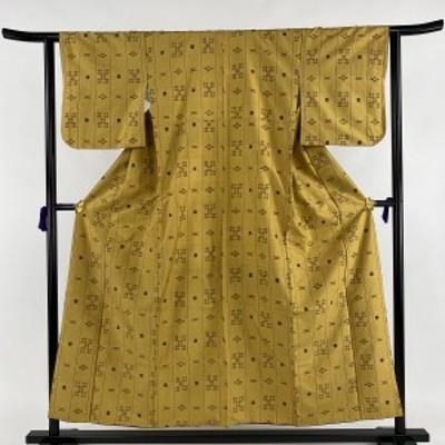 紬 秀品 井絣 縦縞 黄土色 袷 身丈153cm 裄丈61.5cm S 正絹 中古