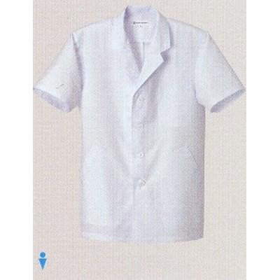 AA801 男性用白衣コート ホワイト セブンユニフォーム 吸汗 タフリース素材 速乾
