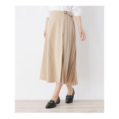 シューラルー SHOO-LA-RUE 【M-L】サイドプリーツスカート (サンドベージュ)