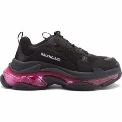 バレンシアガ Balenciaga レディース スニーカー シューズ・靴 Triple S leather and mesh trainers Black