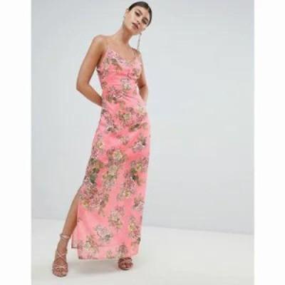 ミスガイデッド ワンピース Chiffon Floral Side Split Maxi Dress Pink floral