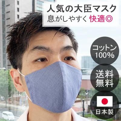 日本製マスク 綺麗な光沢のトルコ製インポートコットン生地 ネイビー