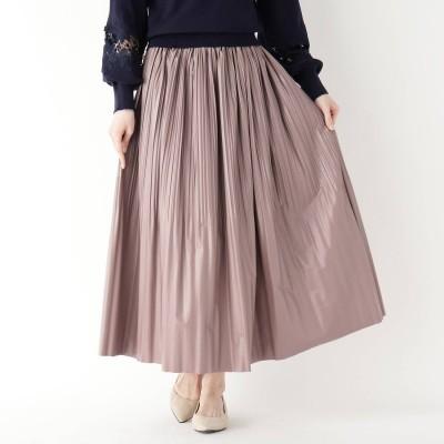 イッツデモ ITS' DEMO 消しプリーツフェイクレザースカート (ピンク)